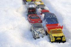 Snow Traffic Jam Royalty Free Stock Images