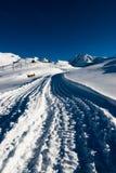 Snow trail. On gornergrat in winter, zermatt, switzerland Royalty Free Stock Photo