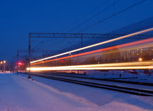 Snow train. Stock Photo