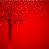Snow, tree with hearts illustration Royalty Free Stock Photos