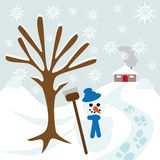 Snow tree hill and house. With snowman and some footsteps Royalty Free Stock Photo
