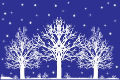 Snow trees. Winter snow trees silhouette illustration Royalty Free Stock Photos