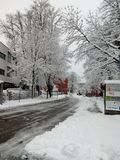 Snow in Augsburg royalty free stock images
