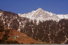 Snow Trekking Routes via Triund, Kangra, India Stock Images