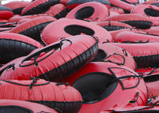 Snow Tubes. Large Group of Inner Tubes at Snow Tubing Park Stock Photography