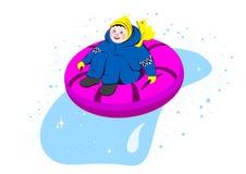 Snow-tubing. Boy sliding downhill on tube, winter  illustration Stock Photography