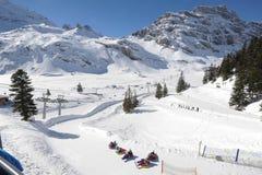 Snow tubing at Engelberg Stock Images
