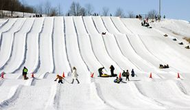 Snow tubing runs Stock Photos