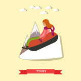 Snow tubing vector illustration in flat style. Vector illustration of young woman enjoying the ride on inner tube. Snow tubing, winter fun flat style design Royalty Free Stock Photos