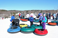 Snow tubing, Windham Mountain Ski Stock Image