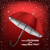Snow umbrella Christmas greeting Royalty Free Stock Image