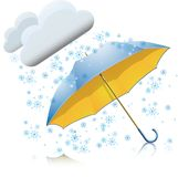 Snow with umbrella Royalty Free Stock Photo
