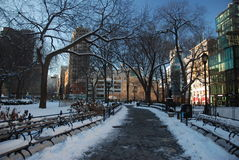 Snow on Union square park Royalty Free Stock Images