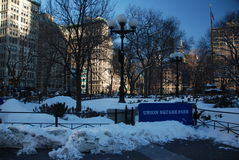 Snow on Union square park Royalty Free Stock Photos