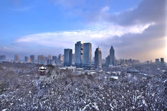 The snow in urumqi. The hongshan is covered with snow Royalty Free Stock Photography
