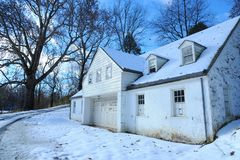 Houses covered by snow royalty free stock photography
