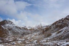 Snow valley. The valley of surrounding snow mountains in Leh Ladakh, Himarayan mountain range Stock Image