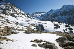 Snow valley trekking Royalty Free Stock Images