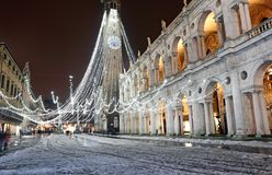 Snow in vicenza City and the Palladian basilica during a cold wi Royalty Free Stock Images