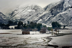 Snow view. Of tibetan village at Shangri-la of China stock photography
