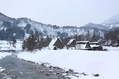 Snow view in Shirakawago, Nagoya in Winter Royalty Free Stock Photo