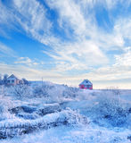 Snow in village Royalty Free Stock Image