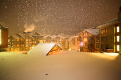 Snow in a Village. Picture of a snowy Christmas Eve in a village Royalty Free Stock Photo