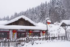 Snow Country in China during the Day stock photography