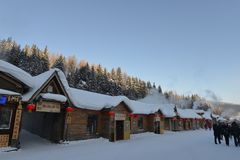 Snow Village in Heilongjiang Stock Photos