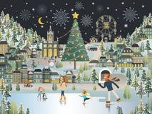 Snow Village Landscape Christmas night scene wallpaper Royalty Free Stock Photography