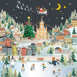 Snow Village Landscape night scene wallpaper, santa claus is com Stock Photography