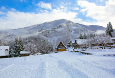 Snow village. Mountains snow shirakawago toyama japen stock photo