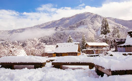 Snow village. Mountains snow shirakawago toyama japen royalty free stock image