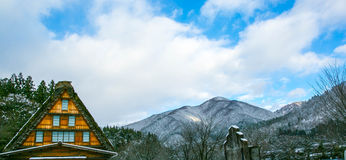 Snow village. Mountains snow shirakawago toyama japen royalty free stock images