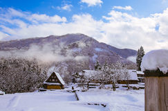 Snow village. Mountains snow shirakawako toyama japen royalty free stock images