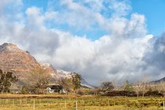 Snow is visible on the mountains at Kromrivier Cederberg Park. KROMRIVIER, SOUTH AFRICA, AUGUST 26, 2018: Snow is visible on the mountains at Kromrivier stock image