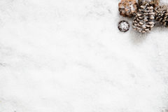 Snow wallpaper for winter and December copy space, flat lay Royalty Free Stock Photo