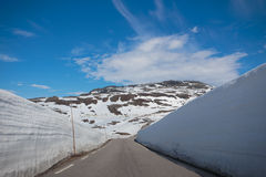 Snow walls around a mountain road Royalty Free Stock Image