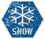 Snow warning road sign, vector illustration, fictional artwork. Distressed grunge style winter symbol vector illustration