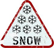 Snow warning sign, vector illustration Royalty Free Stock Photography