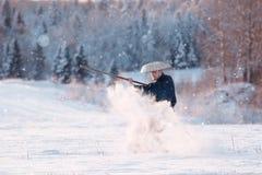 Snow Warrior Meditation. Snow Warrior in Meditation at winter field Stock Photo