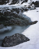 Snow, water, rocks Stock Image