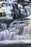 Snow Waterfall. Rushing water from creek surrounding snow capped rocks Stock Images