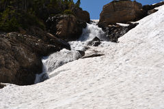 Snow and waterfall of Glacier National Park Royalty Free Stock Images