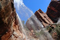 Snow and Waterfall in Zion Canyons ! Utah stock photography