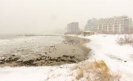 Snow waves of the Black Sea in Pomorie, Bulgaria, 31 december Royalty Free Stock Images
