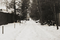 Snow way. Cold winter in Russian village Royalty Free Stock Image