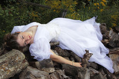 Snow White. A fantasy fairy princess lays waiting for her prince stock image