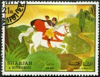 Snow White, 1972. SHARJAH & DEPENDENCIES - CIRCA 1972: A stamp printed by Sharjah & Dependencies devoted fifty years of Walt Disney cartoon characters, shows stock illustration