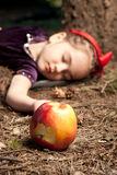 Snow White And Apple Litle Girl Stock Photos